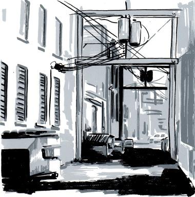 """Galveston Alley"", screen print on paper, 8"" x 10"""